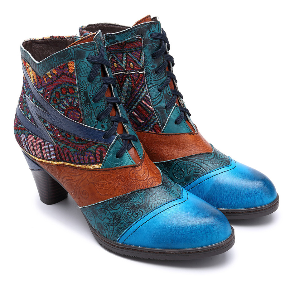 D Knight Bohemian Splicing Women Boots Retro Genuine Leather Shoes Woman Zipper Mid Heels Ankle Boots Spring Autumn Women Shoes (4)