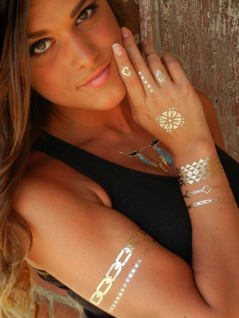 painting tattoo stickers glitter Metal gold silver temporary flash tattoo Disposable indians tattoos