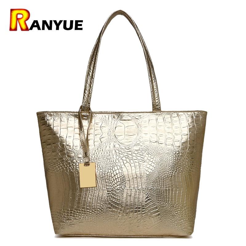 Brand moda casual Femei umăr pungi de argint de aur negru crocodil de mână PU din piele de sex feminin Big Tote sac de mână sacoșe de mână sac