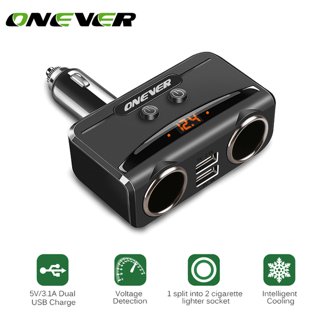 Onever 12V-24V Cigarette Lighter Socket Volmeter Display 3.1A 5V Dual USB Smart Fast Car Charger For Iphone Xiaomi Ipad