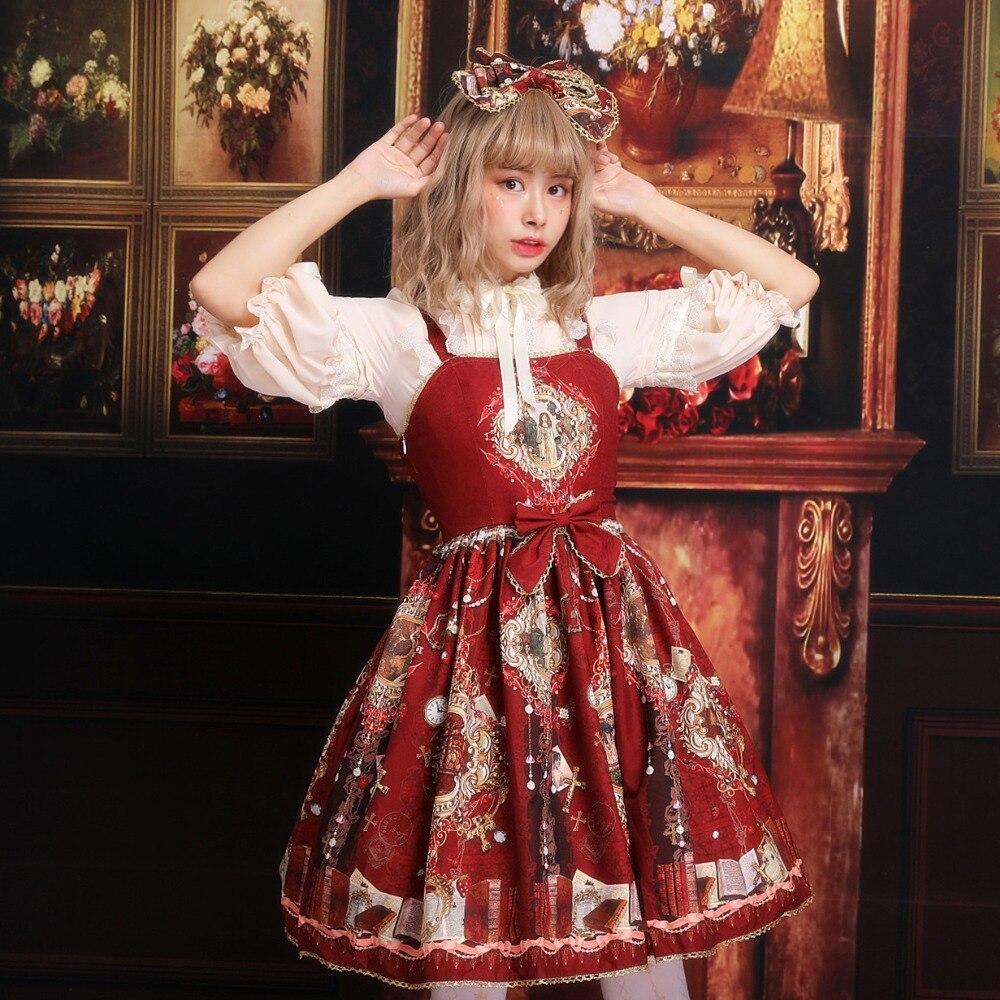 Дворец ретро платье с Лолита печатных кружева маятник шифон назад платье японский свежий и сладкий ветер платье
