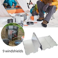 9 Fold Camping Cooker Gas Stove Wind Shield Screen Foldable Outdoor  Portable Cookware Picnic