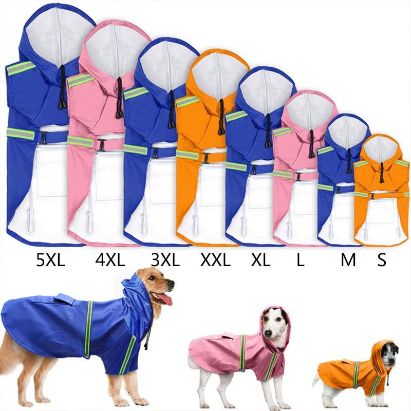 Generous Tailup New Pet Dog Reflective Clothes Labrador Golden Large Dog Waterproof Rainproof Pu Raincoats 5xl 8sizes Volume Large Home & Garden Dog Raincoats