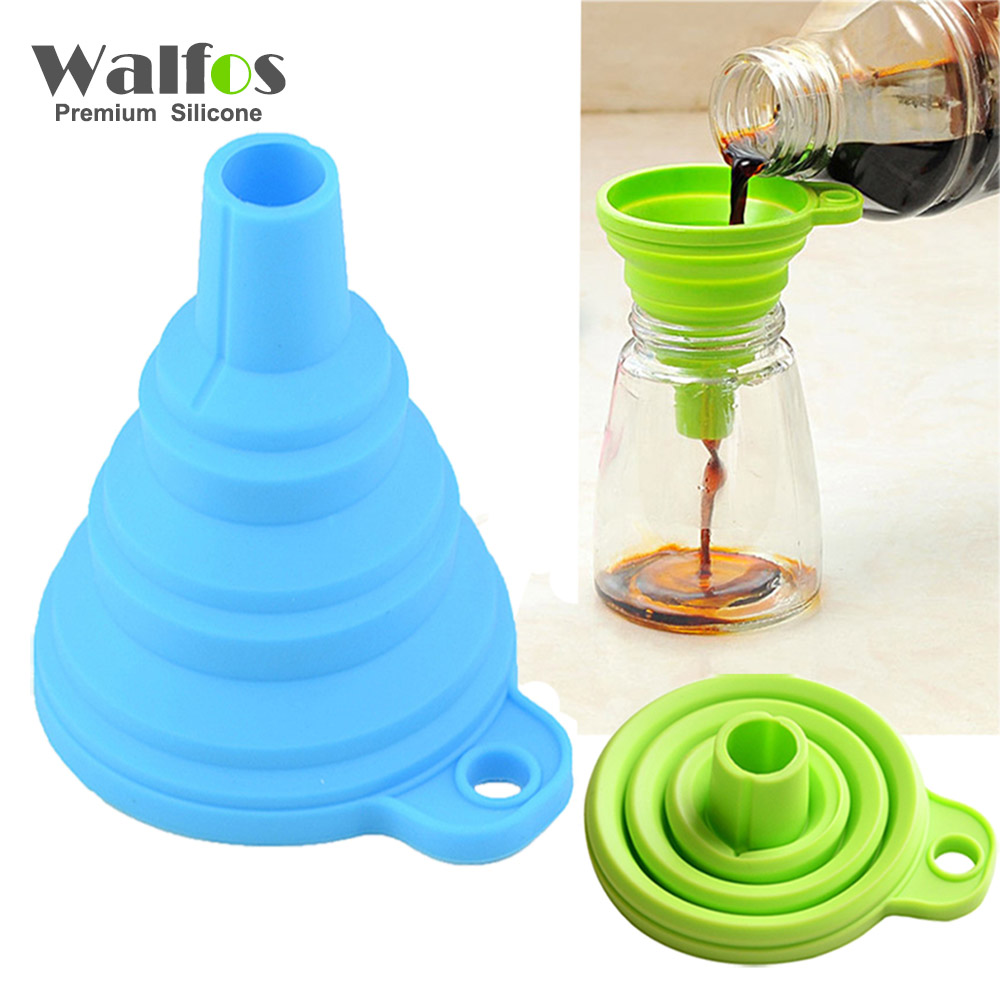 WALFOS High Quality 1pc Ny Mini Silicone Gel Fällbar Fällbar Style Funnel Hopper Köksredskap