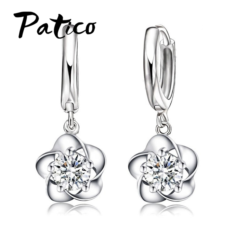 PATICO Fine Nice Woman Tever Ear Loop Earrings Pure S90 Silver Beautiful Flower berkualiti tinggi perhiasan klasik fesyen