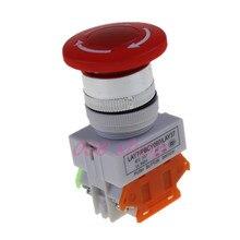 1Pcs Stop Switch Push Button Mushroom PushButton NO+NC 660V 10A LAY37-11ZS