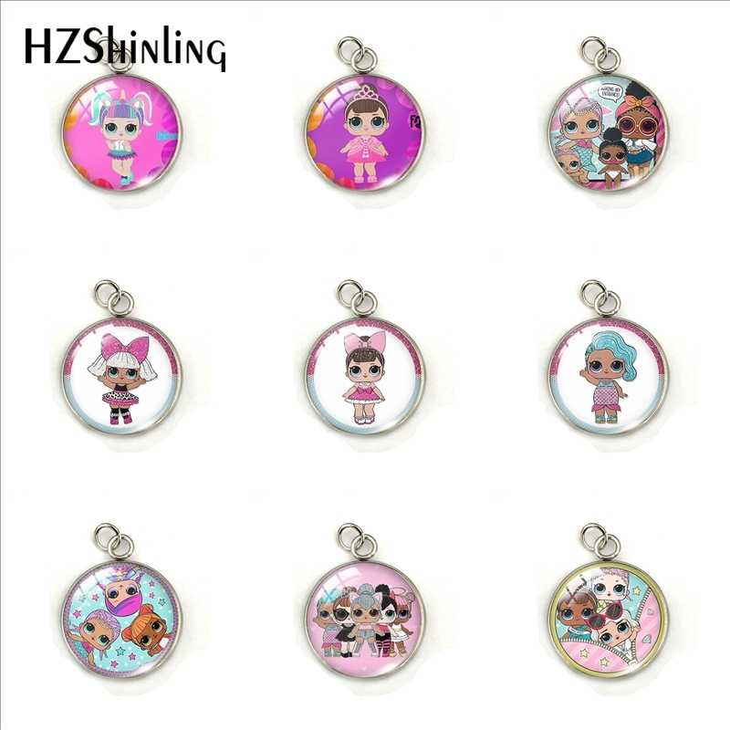 Cute Cartoon Doll Lovely Girls Round Stainless Steel Pendants Jewelry Glass Dome Cartoon Doll Art Printed Charms Accessory