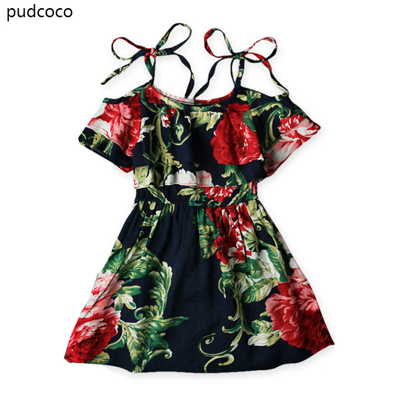 Boho Baby Girls Off shoulder Strap Dress Kids Floral Summer Ruffles Party Mini Beach Dresses Clothes 2-7 Year цена 2017