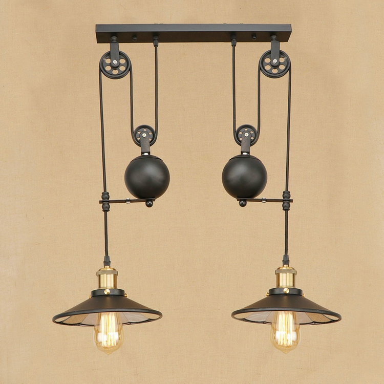 Vintage Iron Loft Industrial American Style Pulley Pendant