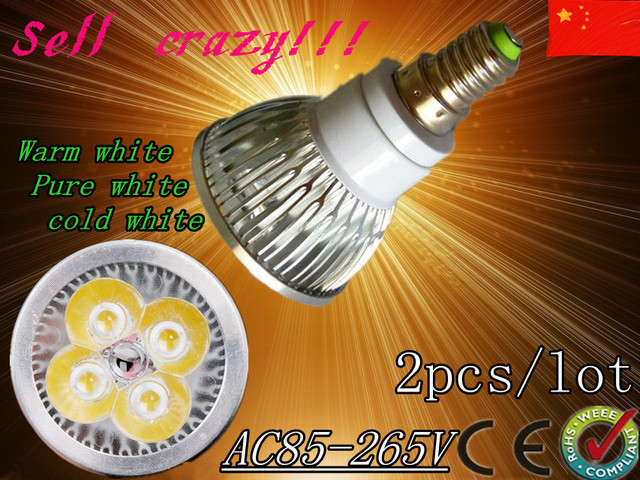 free shipping 1X Dimmable LED Lamp E14 e27 gu10 gu5.3 mr16 4X3W 12W=55W Halogen Bulb Light Bulbs High Power light LED Spotlight