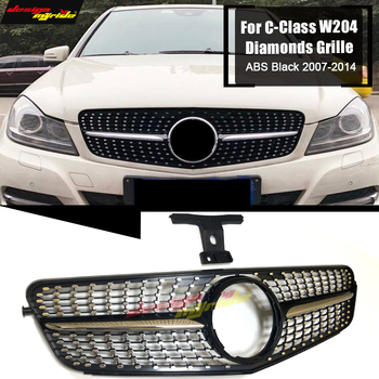 Diamonds Style Gloss Black Hood Sport Front Grille Grill Grills For Mercedes C-Class W204 C204 S204 Direct 1:1 Replacement 07-14