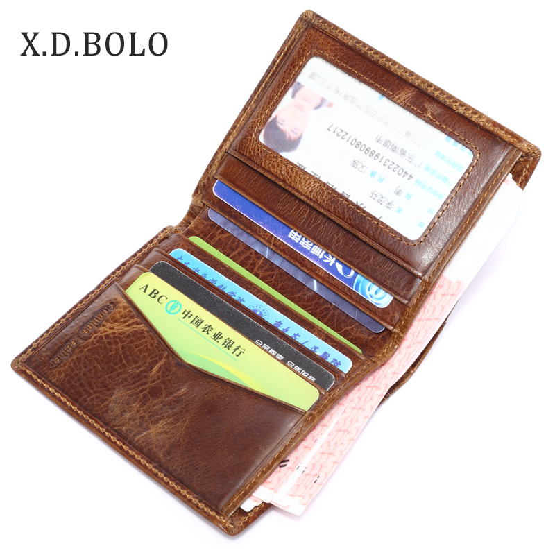 Thin Wallets Men Purse Bifold Id/credit-Card-Holder Genuine-Leather Casual Short