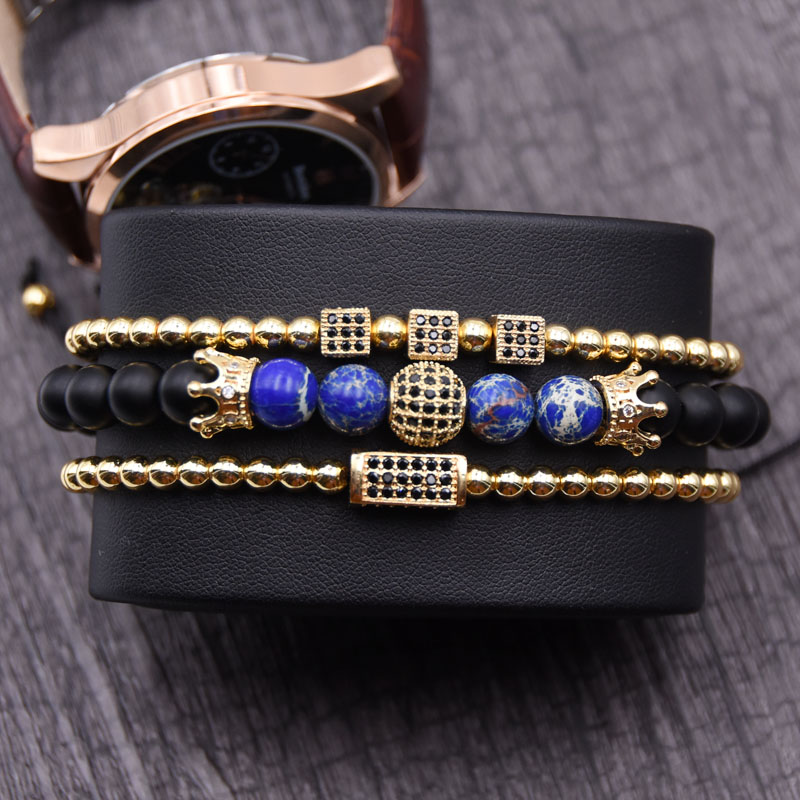 KANGKANG 2019 Personality Jewelry 8mm Stone Pave CZ 4 Color Metal ball and Crown Summer style Bracelets for Men Women Bijoux in Strand Bracelets from Jewelry Accessories
