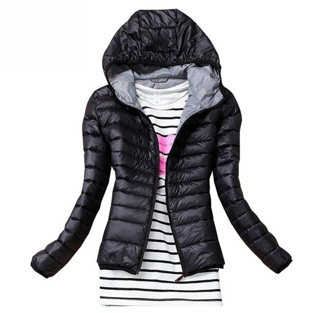 2017 de Inverno Mulheres Outono Casaco Básico Jaqueta Fêmea Magro Com Capuz Casacos de Algodão Marca Casual Jaquetas Pretas