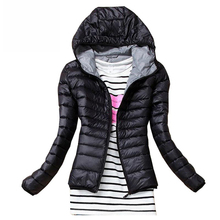 2019 Autumn Winter Women Basic Jacket Coat Female Slim Hooded Brand Cotton Coats Casual Black Jackets