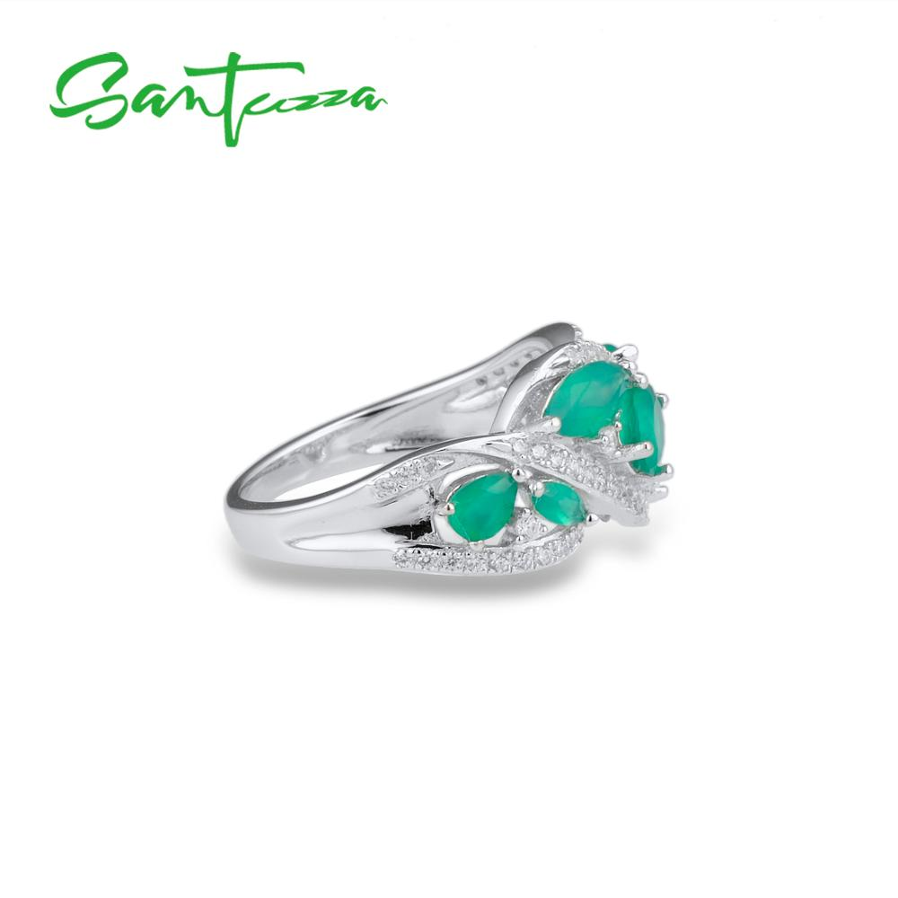 Image 5 - SANTUZZA Silver Rings For Women Pure 925 Sterling Silver Pear  Green Chalcedony Sparkling Trendy Party Ring Fine JewelryRings   -