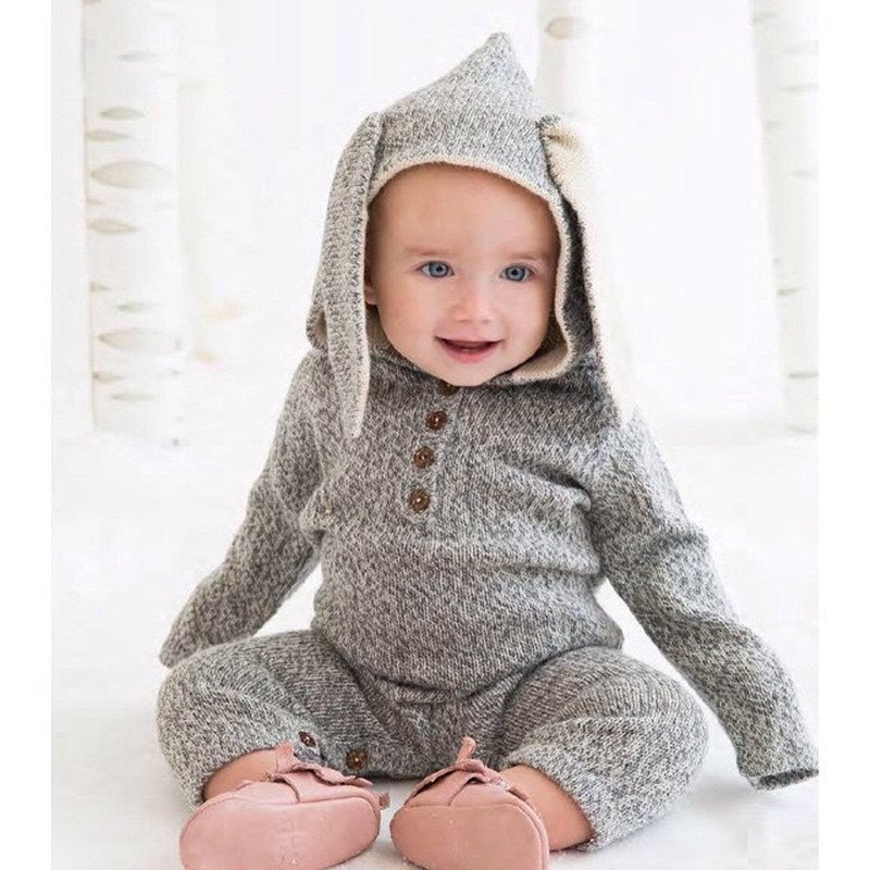 2017 Baby Newborn Jumpsuits Clothing Jumpsuits Baby rompers Clothes Baby Clothes Boys Girls Long Sleeve Ear Cap Girls Boys winter newborn bear jumpsuit patchwork long sleeve baby rompers clothes baby boys jumpsuits infant girls clothing overall