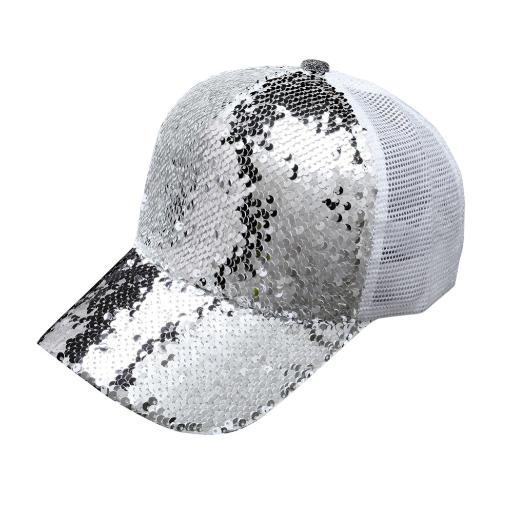 Casual 5 Panel Snapback   Baseball     Cap   2017 Sequins Shining Hip Hop Hats For Men Mesh Breathable Women   Caps   Bone Casquette Gorras