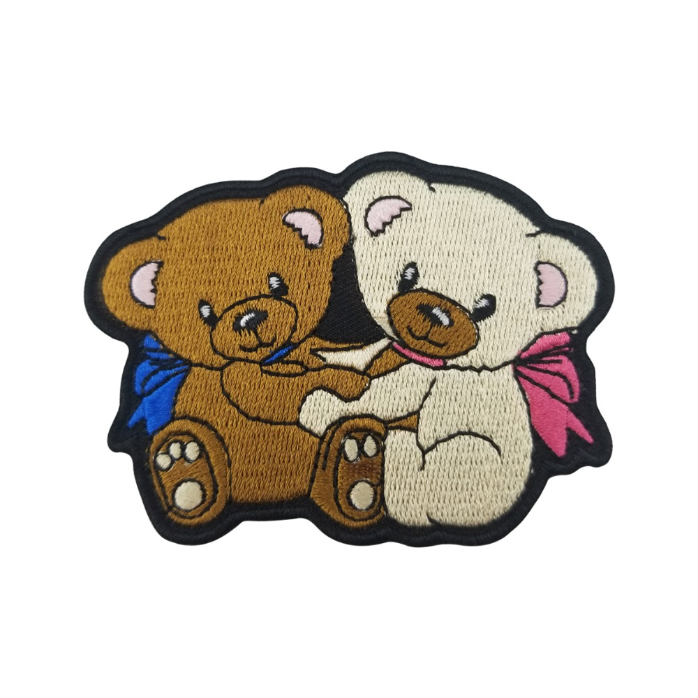 Cheap Cartoon Biker Baby Bear Embroidery Patches Iron on Badge for Kids Clothes