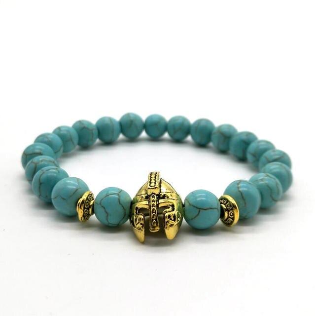 Cute Bear Brand Roman Knight Spartan Warrior Gladiator Helmet Bracelet Men Black Matte Lava Stone Bead Bracelets For Men Jewelry