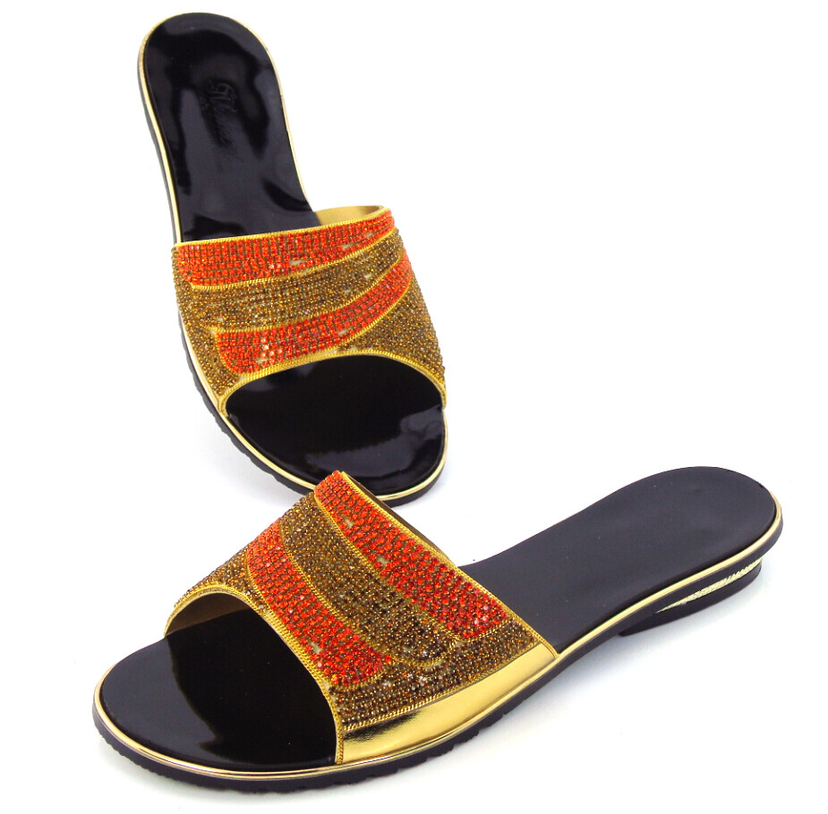 doershow New arrival colorful rhinestones design ladies pumps African sandal shoes for party gold, size 37-43 !!DD1-57 doershow new coming purple design african sandal shoes with shinning stones for fashion lady free shipping jk1 36