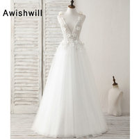 2019 Sexy White Long Prom Dresses Deep V Neck Sleeveless Beading Flower Women Couture Evening Gowns Formal Party Dress Cheap