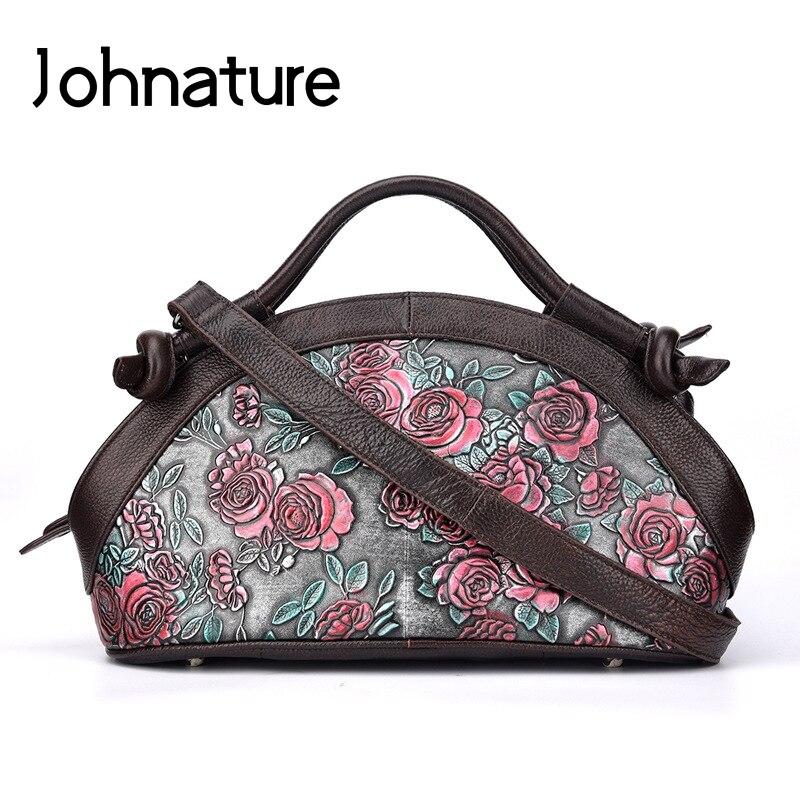 Johnature 2019 ใหม่ของแท้หนัง Retro Floral ซิป Totes กระเป๋าสตรีกระเป๋าถือ Crossbody กระเป๋าถือผู้หญิงกระเป๋า-ใน กระเป๋าหูหิ้วด้านบน จาก สัมภาระและกระเป๋า บน   1