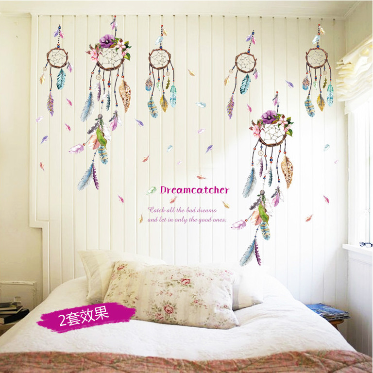 New Flower Campanula Quote Feather Home Decal Wall Sticker Bedroom Living Room Girls Room Decor Wedding