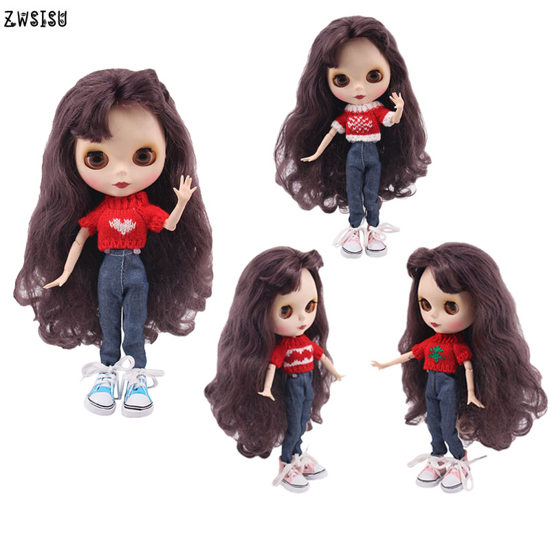 Blyth Doll Clothes 15 Styles 1 Set Clothes=Sweater+Jeans For BJD 30 Cm 1/6 Blyth Doll Dress For Generation Girl`s Christmas Toy