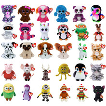 "Pyoopeo Ty Beanie Boos 6"" 15cm Cat Dog Bunny Penguin Turtle Unicorn Bird Plush Big-eyed Stuffed Animal Doll Toy with Heart Tag(China)"