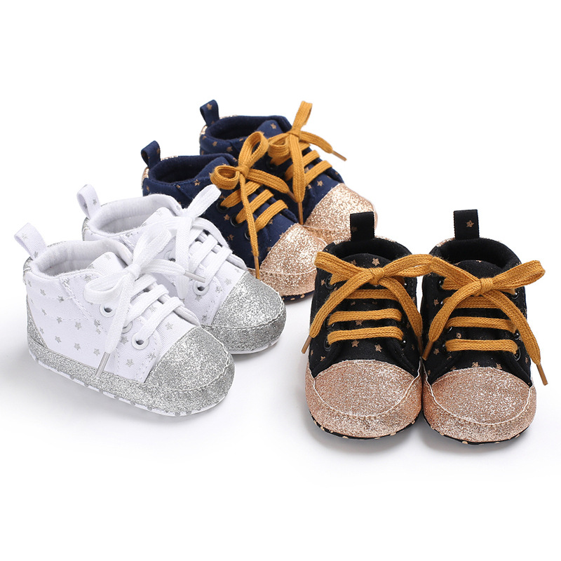Spring And Autumn  Fashion First Walkers Baby Girls Shoes Canvas Dots Toddler Booties Soft Sole Newborn Boys Sport Sneakers 0-18