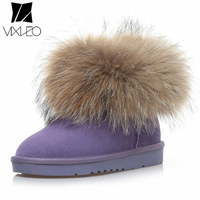 VIXLEO cow suede leather big fox fur women short winter ankle snow boots for woman winter shoes black brown non slip sole 35 40