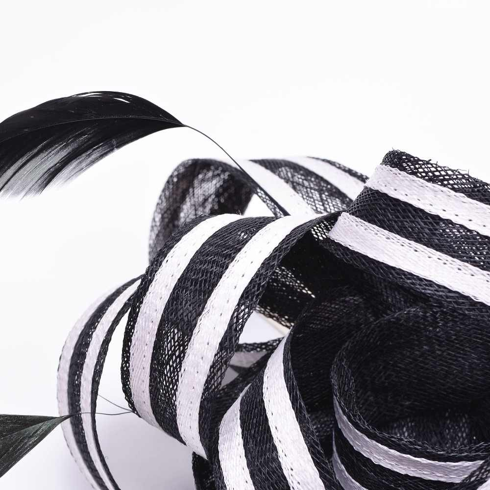 Women black white stripe sinamay fascinator hats feather ladies headpiece headband kentucky derby wedding party