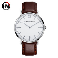 HM Fashion Watch Men 40mm Hot Ultra thin Wristwatches Mens Top Brand Luxury Leather Scrap Watches DW