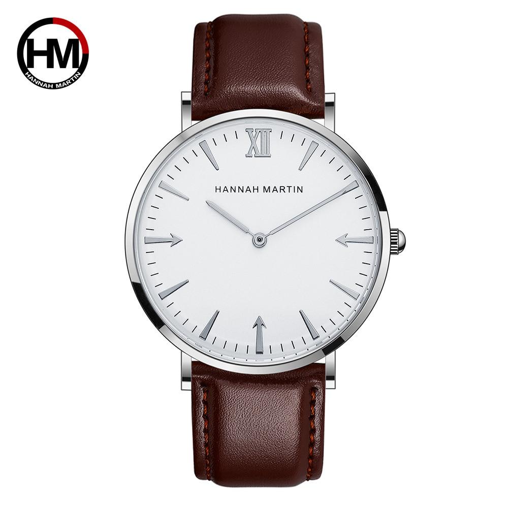 HM Fashion Watch Men 40mm Hot Ultra thin Wristwatches Mens Top Brand Luxury Leather Scrap Men's Watches DW Ultra thin Watch Men