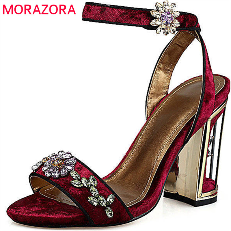 MORAZORA 2018 high quality flock women sandals sweet crystal fashion party wedding shoes square high heels shoes black red new fashion women casual shoes women sandals 2016 thick high square heels sandals black flock pumps