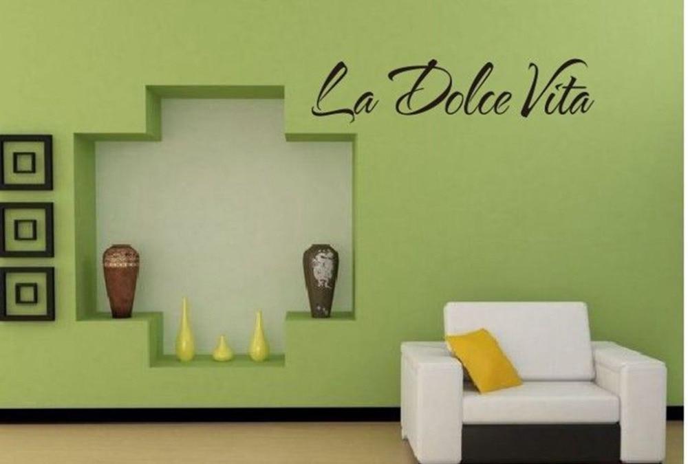 Italian Quote La Dolce Vita Letter Word Room Decor Vinyl Decals Art Wall Sticker 15x60cm
