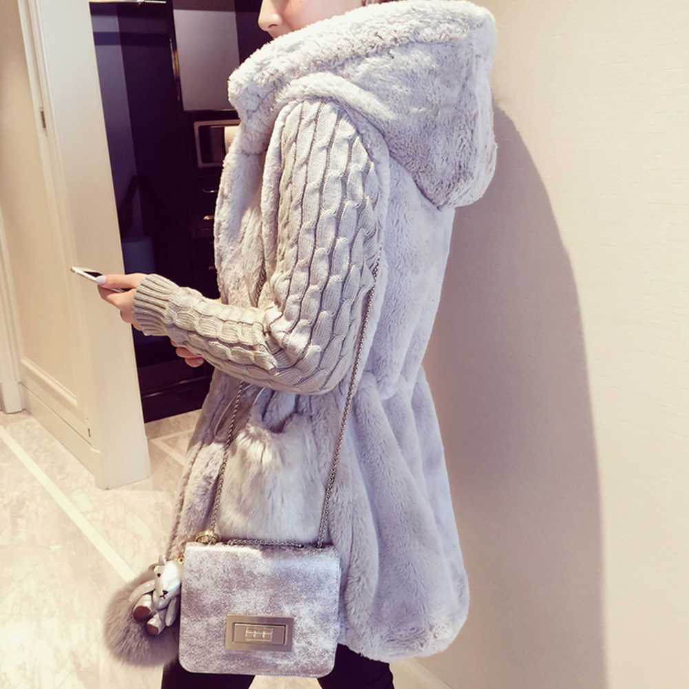 Women Autumn Winter Warm Jacket Coat Classic Knitted Sweater Patchwork Plush Thick Hooded Outerwear Coat