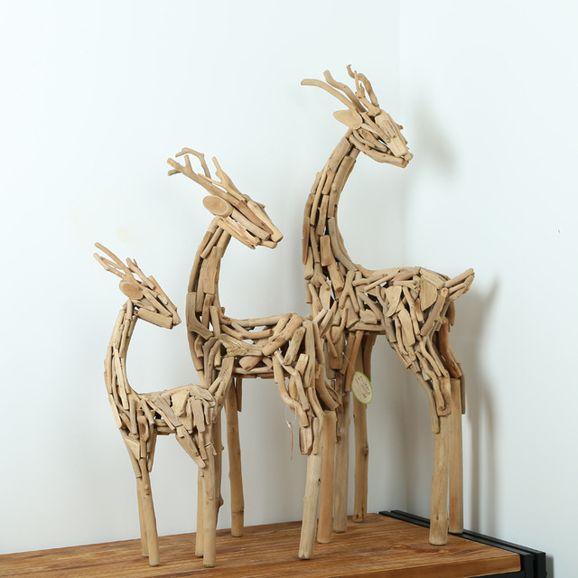 Handmade Gift Deer Suit Furnishing Articles Household Soft Outfit Design Wooden Arts And Crafts