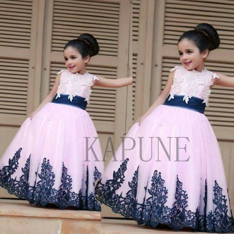 Girl Dress New Appliques Flower Girls Dresses Formal Wedding Birthday Party Prom Ball Gowns girl party dress 2018 girls dress formal