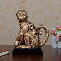 Europe Style Retro Creative Resin Decoartion Crafts Cute Monkey Sculptures Drawing Room Study Cute Home Decor