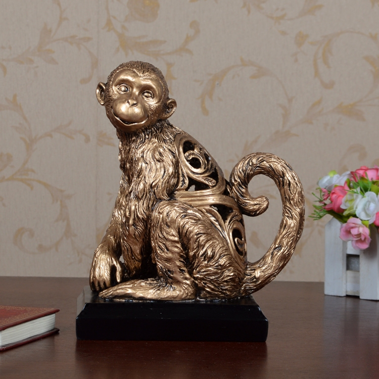 Europe Style Retro Creative resin decoartion crafts cute monkey sculptures drawing room study cute home decor fake bronze staute