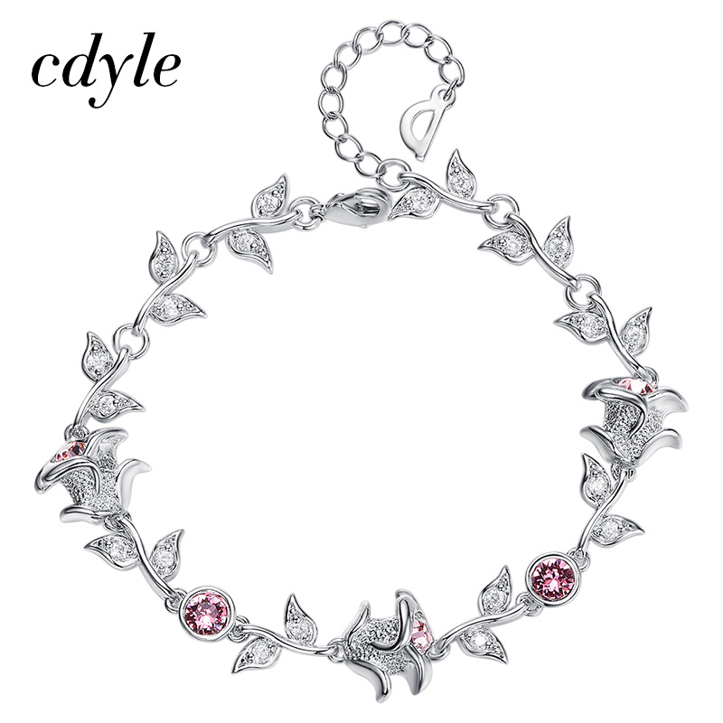 Cdyle Crystals from Swarovski Bracelets Women Bracelet For Women Bangle Austrian Rhinestone Fashion Jewelry Elegant Rose New elegant rhinestone bird decorated bracelet with ring for women