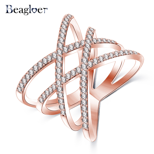 Beagloer New Fashion Rings Double Cross X Shape Ring Rose Gold/Silver Color Zirc
