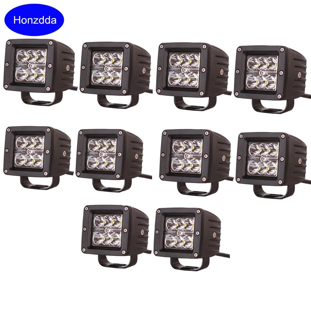 10pcs 18w spot led work light 12v waterproof boat light led pod offroad truck atv utv