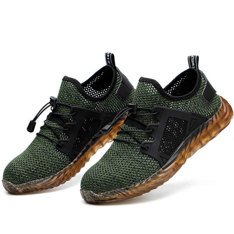 Drop Shipping Erkekler Nefes Çelik Ayak Anti Smash iş ayakkabısı Botları Erkekler Delinme Geçirmez Güvenlik Ayakkabı Ayakkabı
