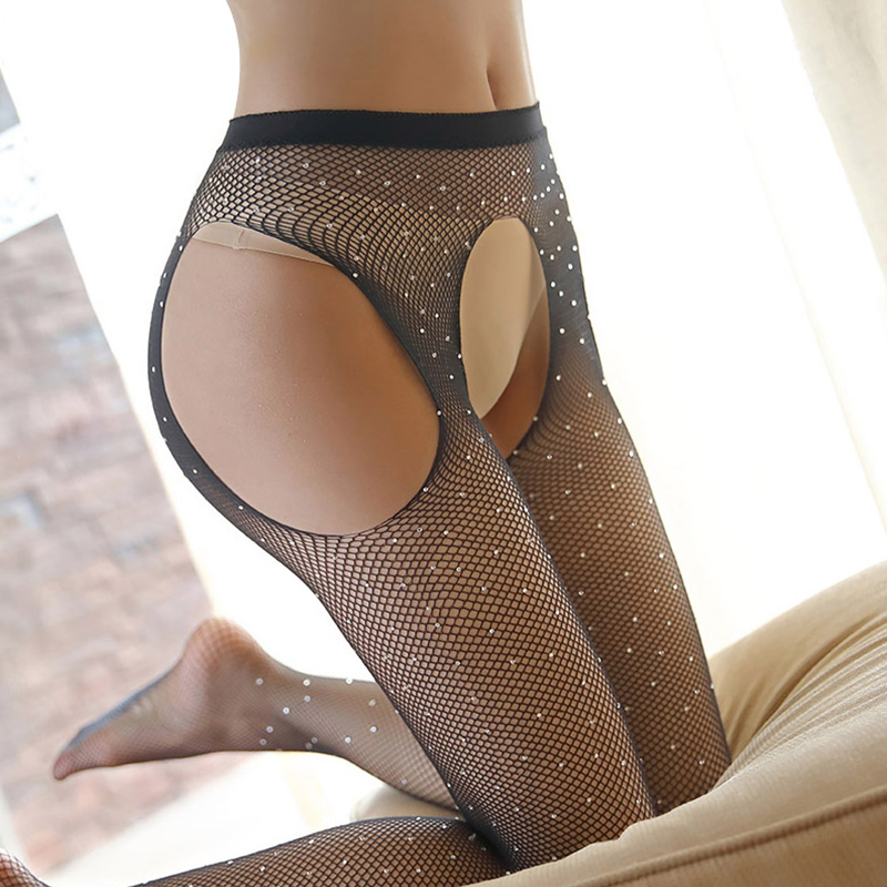 BONAS 6pcs Women Open Crotch Fishnet Tights Sexy Hot Diamond Mesh Nylon Pantyhose Stockings Female Lady Thin HollowCollant Femme