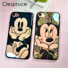 Cute Cartoon Laser Blu-Ray Glossy Case Soft Silicon Shell Mikey Minnie Back Cover Case For iPhone 8 8plus 6 6s Plus 7 7Plus