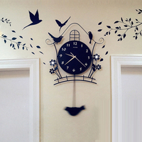 Modern Decoration Northern Europe Type Personality Quartz Wall Clock A Living Room Fashion Bedroom Household Birdie Surface