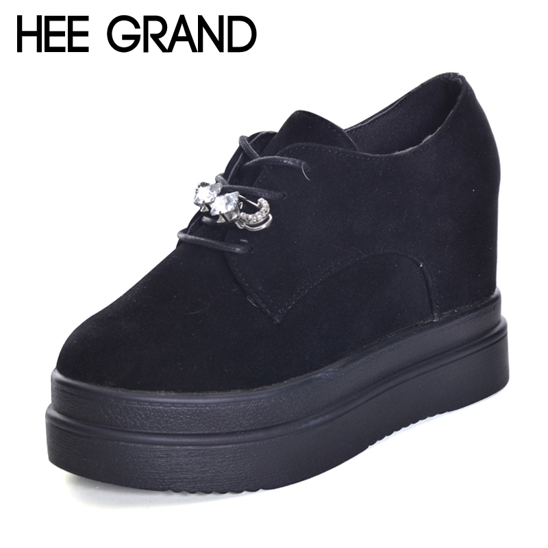 HEE GRAND Pin Crystal 2017 Shoes Lace-Up Platform Shoes Woman Casual Faux Suede Creepers Winter Solid Fashion Flats XWD6015 hee grand lace up gladiator sandals 2017 summer platform flats shoes woman casual creepers fashion beach women shoes xwz4085